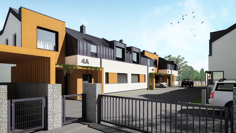Zespół budynków mieszkalnych – 3 budynki w zabudowie szeregowej, 2 budynki w zabudowie bliźniaczej