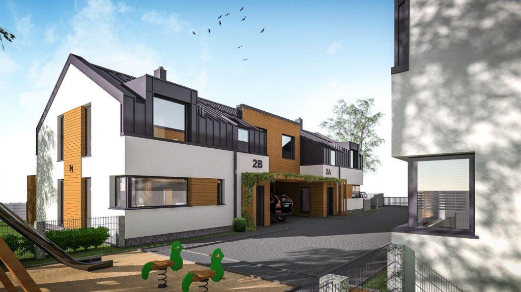 Zespół budynków mieszkalnych – 3 budynki wzabudowie szeregowej, 2 budynki wzabudowie bliźniaczej